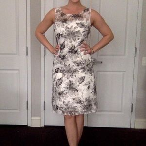Adrianna Papell grey and white floral dress